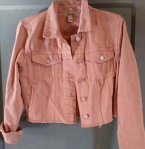 Blush pink denim jacket large